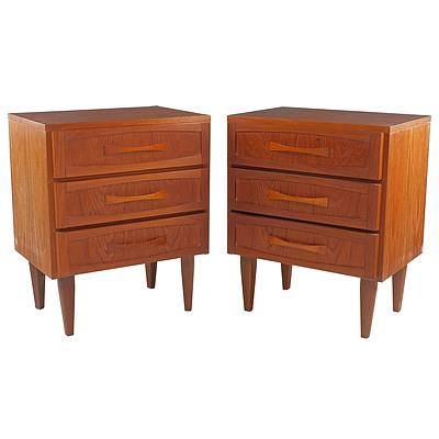 Pair Retro Teak Bedside Tables