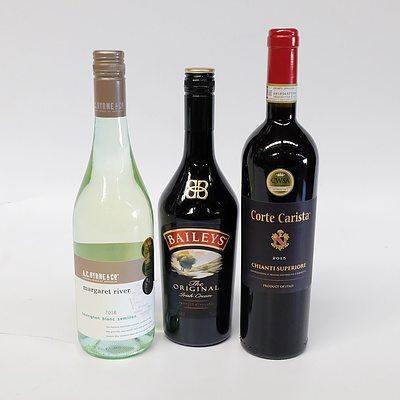 Three Bottles of Wine and Liquor including Corte Carista 2015 Chianti Superoire From Italy, Baileys, Margaret River 2018 Sauvigon Blanc Semillon