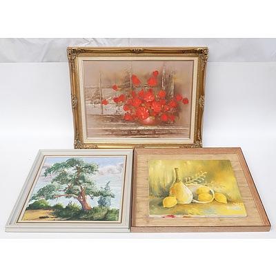 Robert Cox (1934-2001) Rose Vase Floral Still Life Oil on Board, E Austin Australian Scene, K.A. McCarthy Lemons