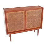 Retro Teak Veneer Cabinet with Rattan doors