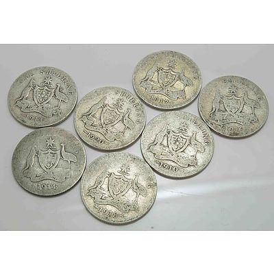 Australia: Sterling Silver Shillings: George V