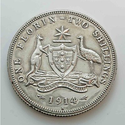 Australia: Sterling Silver Florin 1914H Very Rare!