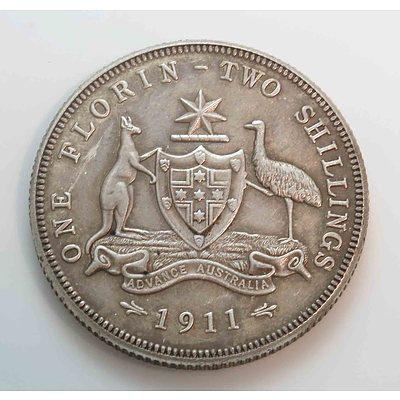 Australia: Sterling Silver Florin 1911 Rare!