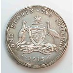 Australia: Sterling Silver Florin 1915 Very Rare!