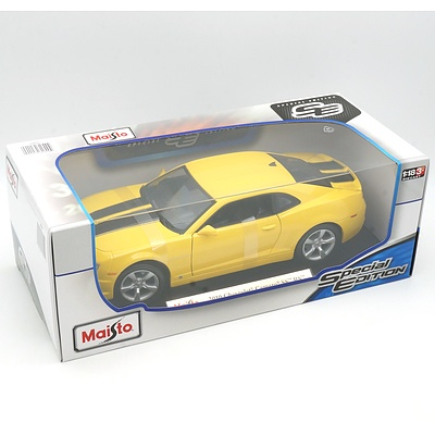 Brand New Maisto Special Edition 1:18 Diecast 2010 Chevrolet Camaro SS RS Yellow