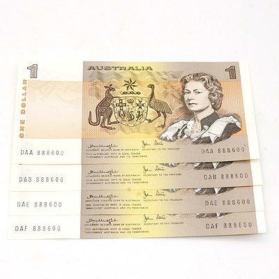 Four Australian Knight/ Stone $1 Notes, DAA 888600, DAB 888600, DAE 888600, DAF 888600