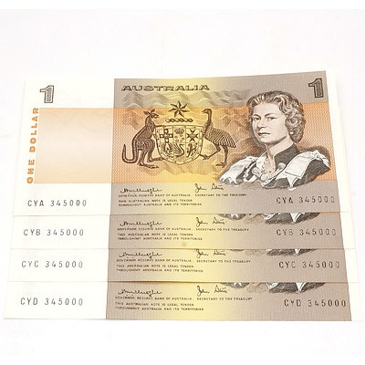 Four Australian Knight/ Stone $1 Notes, CYA 345000, CYB 345000, CYC 345000, CYD 345000