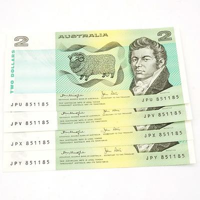 Four Australian Knight/ Stone $2 Notes, JPU 851185, JPV 851185, JPX 851185, JPY 851185