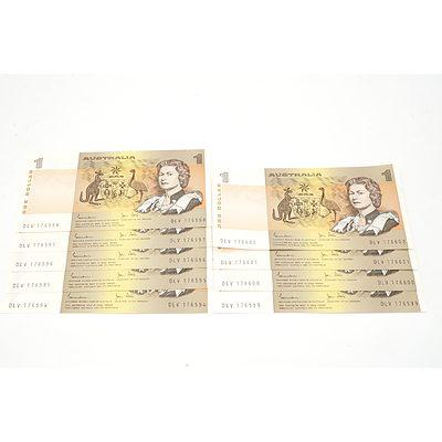 Nine Consecutively Numbered Australian Johnston/ Stone $1 Notes, DLV 176594 - DLV 176602