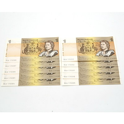 Ten Consecutively Numbered Australian Johnston/ Stone $1 Notes, DLV 176584 - DLV 176593