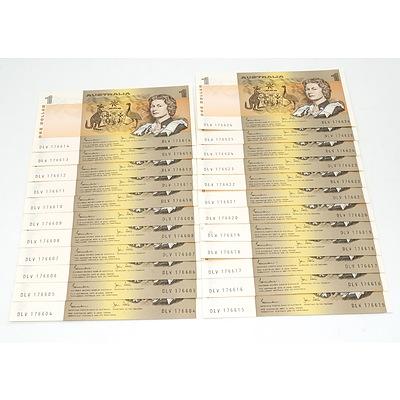 Twenty Three Consecutively Numbered Australian Johnston/ Stone $1 Notes, DLV 176604 - DLV 176626