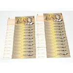 Twenty Three Consequently Numbered Australian Johnston/ Stone $1 Notes, DLV 176604 - DLV 176626