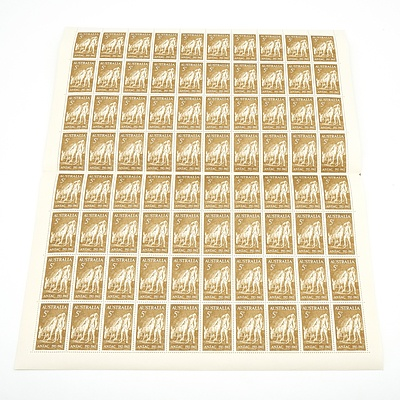 Sheet of 80 Australian 5d Stamps, Anzac 1915-1965