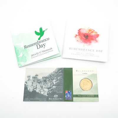 Remembrance Day 2014 Uncirculated $2 C Mintmark, Remembrance Day 2015 Uncirculated $2 C Mintmark, The Last Anzacs 1999 $1 M Mintmark