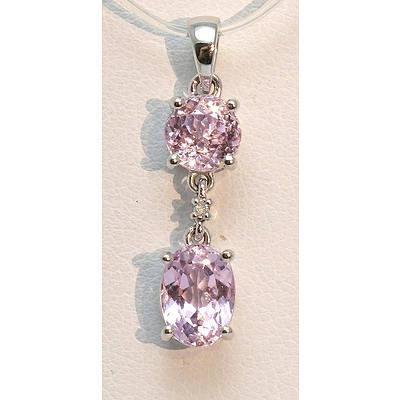 9ct White Gold Natural Pink Kunzite Pendant