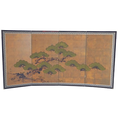 Japanese Hand Painted Paper and Wood Framed Screen, Bought in Tokyo 1973