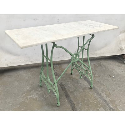 White USA Sewing Table with Marble Top