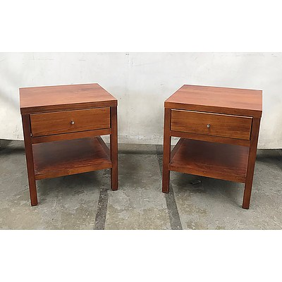 Queen Size 3 Piece Bed Suite, Bed & Pair of Side Tables