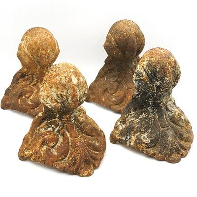 Four Antique Cast Iron Claw and Ball Bath Feet