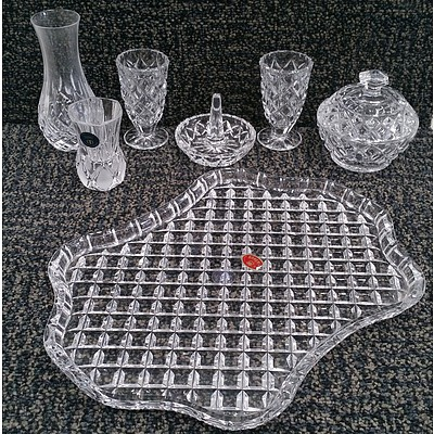 7 Pieces of Lead Crystalware Including: Serving Platter, Sugar Bowl with Lid, Shot Glasses and More.