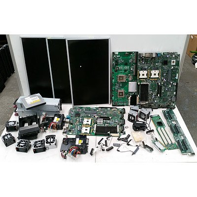 Bulk Box of Assorted IT items Including: Screens, Motherboards, Power Supplies, Fans, Hard Drive Caddys and More