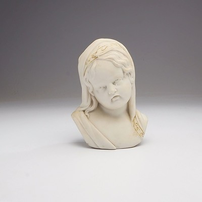 Antique Late Victorian Parian Ware Bust of a Weeping Girl