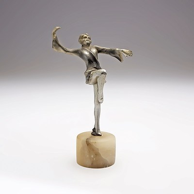 Art Deco Cold Painted Metal Figure of Dancer on an Alabaster Socle Circa 1920s