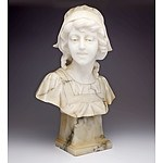 Antique Carved Marble Bust on an Alabaster Socle Signed by A Rofsi