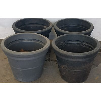 Heavy Duty 45cm Plastic Pots - Lot of Four