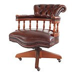 Brown Leather Upholstered Captain's Chair, Late 20th Century