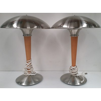 Stainless Steel Table/Desk Lamps - Lot of Two