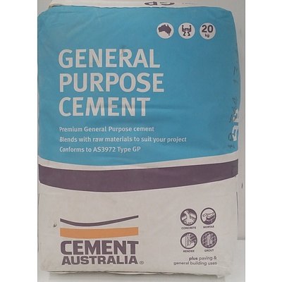 Cement Australia General Purpose Cement 20kg Bags - Lot of Eight - New