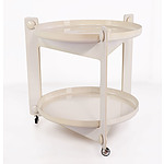 Retro 1970's Circular Cream Decor Style Traymobile on Castors