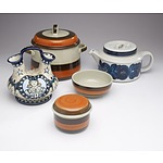 A Tureen, Bowl and Condiment Dish Rorstrand Annika Pottery, an Arabia Teapot and an Amphora Vase