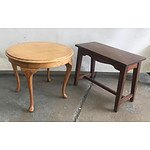 Vintage Beech Round Occasional Table & Rectangular Occasional Table