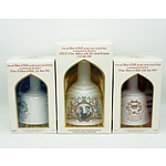 Three House of Bells Royals Commemorative Scotch Whiskey Bottles