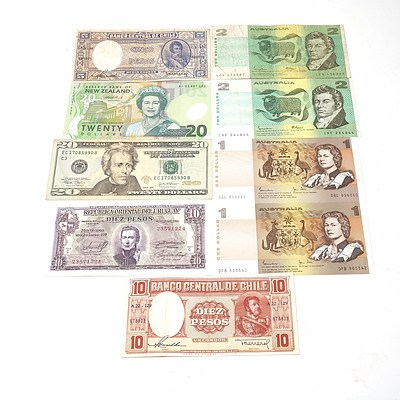 Various Australian and International Banknotes, Including Johnston/ Stone $1 Note DGL056060, USA $10 Note EC17085990B and More