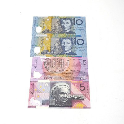 Four Australian Polymer Banknotes, Including First Prefix 2002 $10 Notes AA02172601