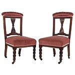 Pair of Dark Salmon Velvet Upholstered Edwardian Mahogany Nursing Chairs, Early 20th Century