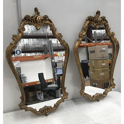 Pair Of Vintage Moulded Gesso Rococo Style Mirrors