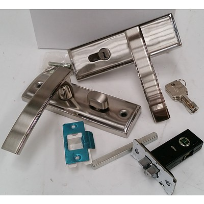 Stainless Steel Front Door Security Lock Sets - Lot of Six - New