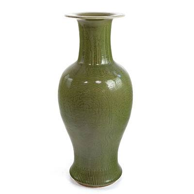 Large Vintage Chinese Celadon Vase Carved with Peony and Plantain Leaf Lappets Above a Ruyi Band