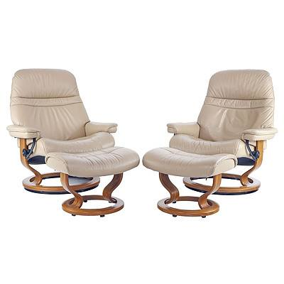 Pair of Ekornes Stressless Beige/Cappucino Leather Upholstered Reclining Armchairs and Footstools - Made in Norway