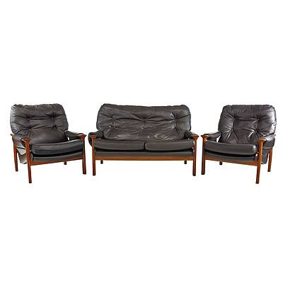 Tessa T21 Dark Tan Leather Upholstered Three Piece Lounge Suite Designed by Fred Lowen