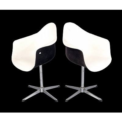 Pair of Vintage Eames Style Fibreglass and Chromed Steel Based Swivel Chairs