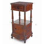 Good Antique Brazilian Rosewood Bedside Cupboard with Marble Top, Late 19th Century