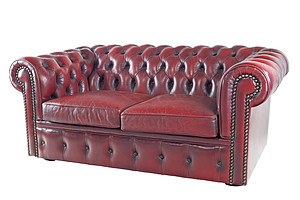 Moran Deep Buttoned Oxblood Leather Two Seater Sofa
