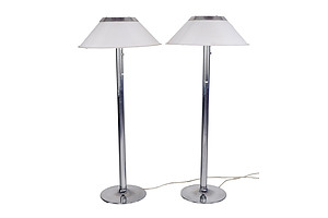 Pair of Scandinavian Chromed Steel Floor Lamps with Acrylic Shades, Manufactured by Atelje Lyktan Sweden