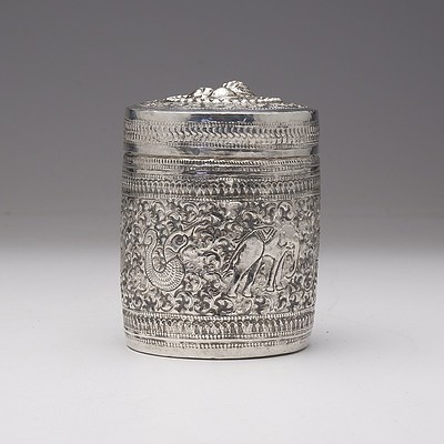 South East Asian Silver Heavily Repousse Decorated Container, 148g