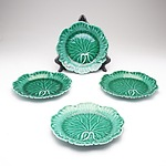 Four Wedgwood Majolica Cabbage Leaf Patterned Plates